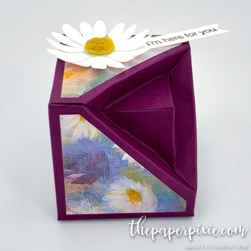 This is a handmade cubic geode gift box craft project created by the Paper Pixie using Stampin' Up! supplies.
