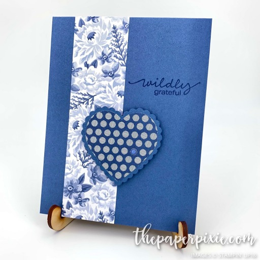 This is a handmade card stamped with the Lovely You Stampin' Up! stamp set and the sentiment says wildly grateful.