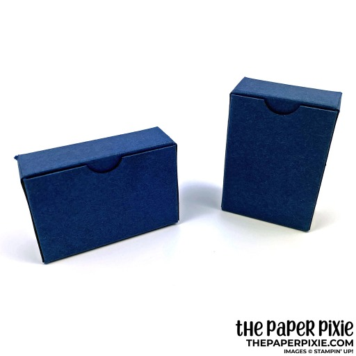 This is a handmade treat box featuring the Stampin' Up! Rectangular Postage Stamp Punch and Boho Indigo Product Medley. These adorable boxes have opposite orientations - landscape and portrait - depending on what stamp/sentiment you'd like to use!