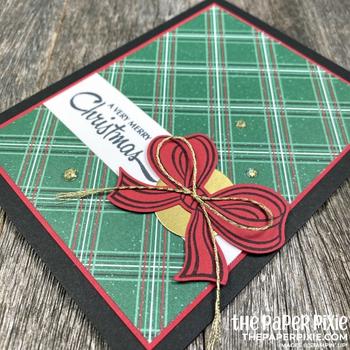 Handmade Christmas Card featuring the Stampin' Up! Gift Wrapped Bundle with the sentiment A Very Merry Christmas.