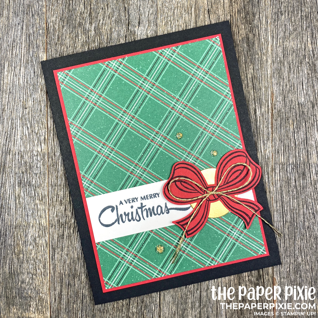 Handmade Christmas Card with a bow and the sentiment A Very Merry Christmas