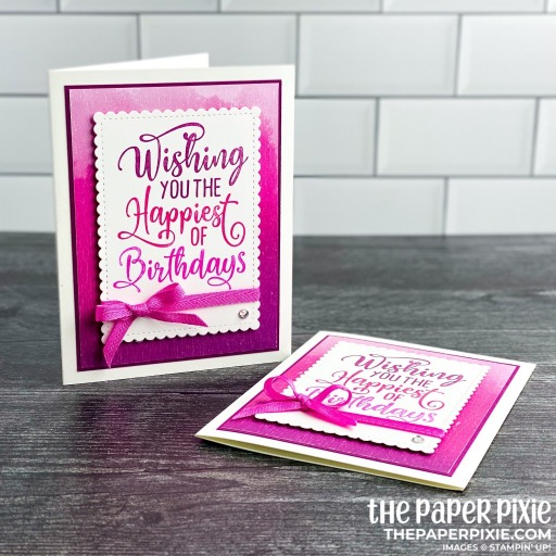 This is a handmade card stamped with the Happiest of Birthdays Stampin' Up! stamp set and the sentiment says wishing you the happiest of birthdays.