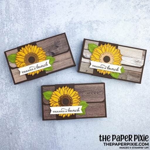 This is a handmade gift box made with the Celebrate Sunflowers Stampin' Up! bundle and the sentiment says thanks a bunch.