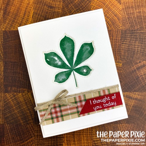 This is a handmade card made with the Love of Leaves Stampin' Up! product suite and the sentiment says I thought of you today.