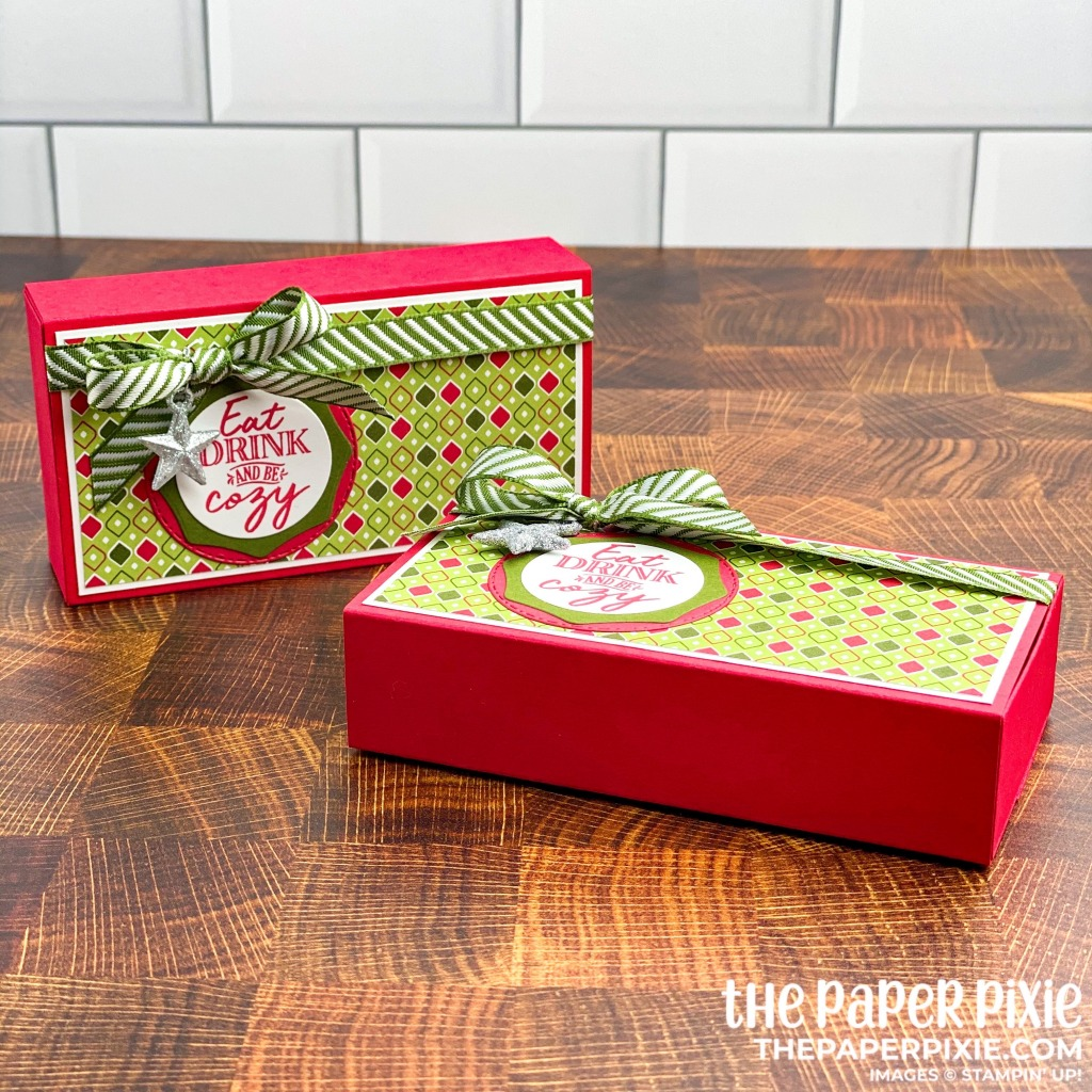 This is a handmade gift box made with the Warm Hugs Stampin' Up! bundle and the sentiment says eat drink and be cozy.